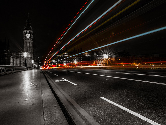 Light trails on Westminster Bridge at night
