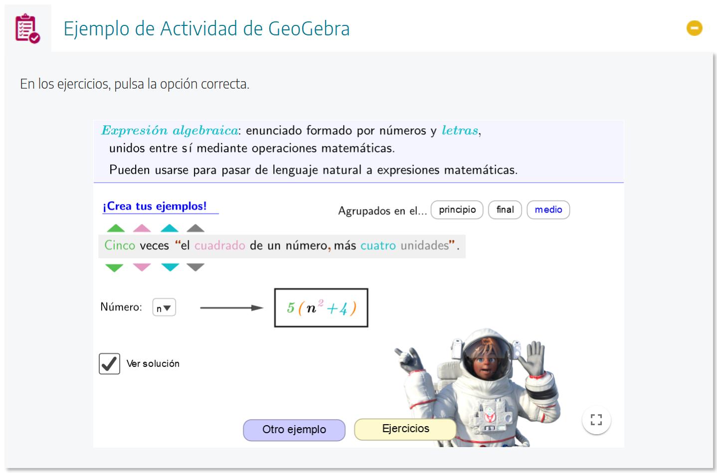 Pantallazo de actividad GeoGebra
