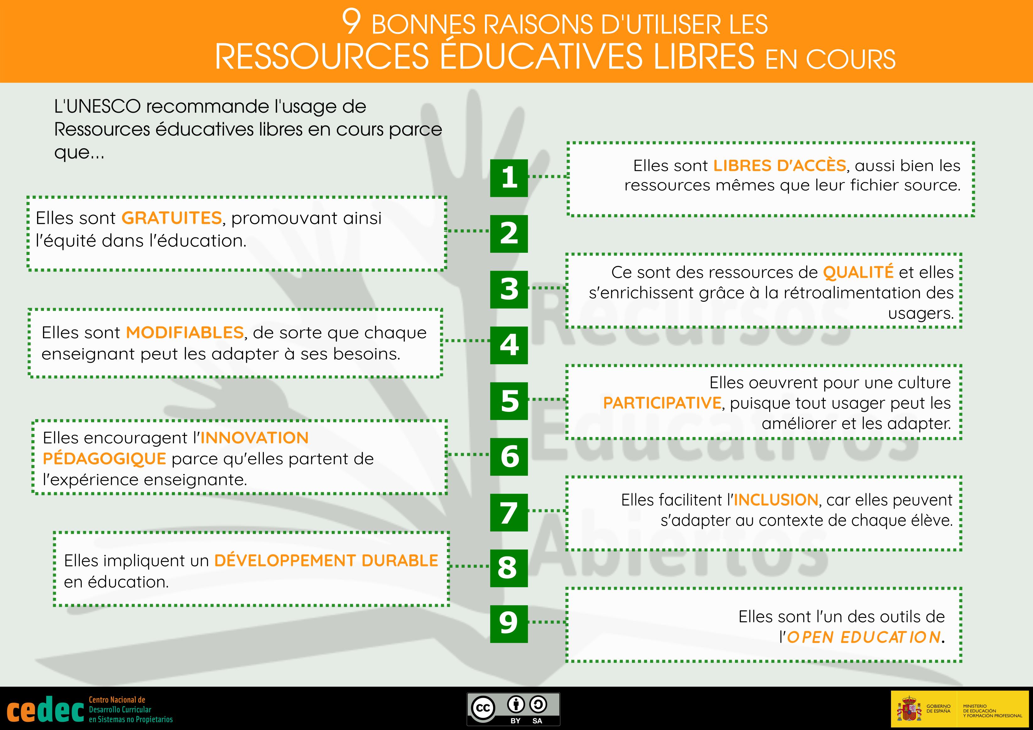 """Traducción de la infografía """"9 razones para usar rea en el aula"""" al francés"""