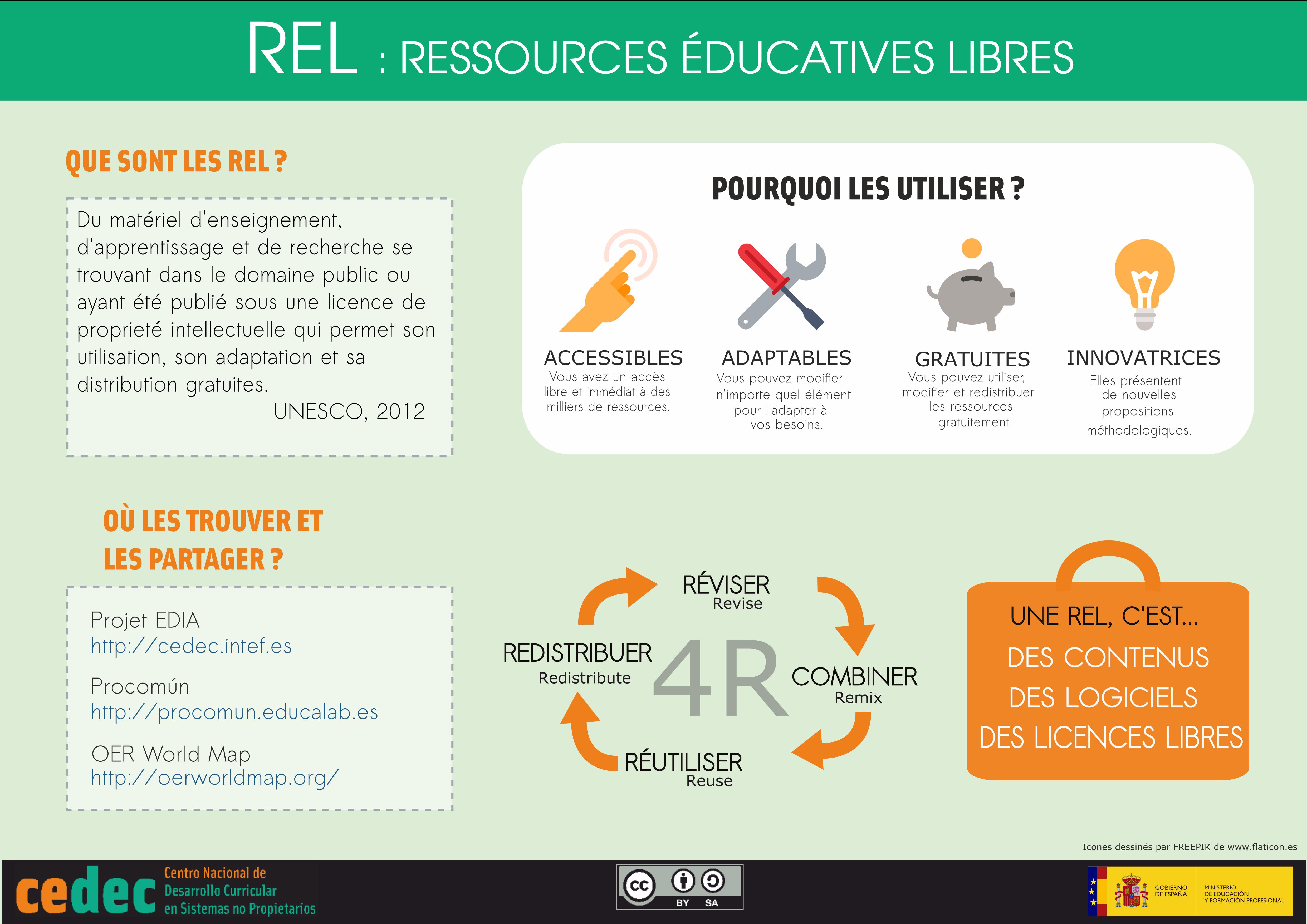 """Traducción de la infografía """"¿Qué son los REA? """" al francés"""